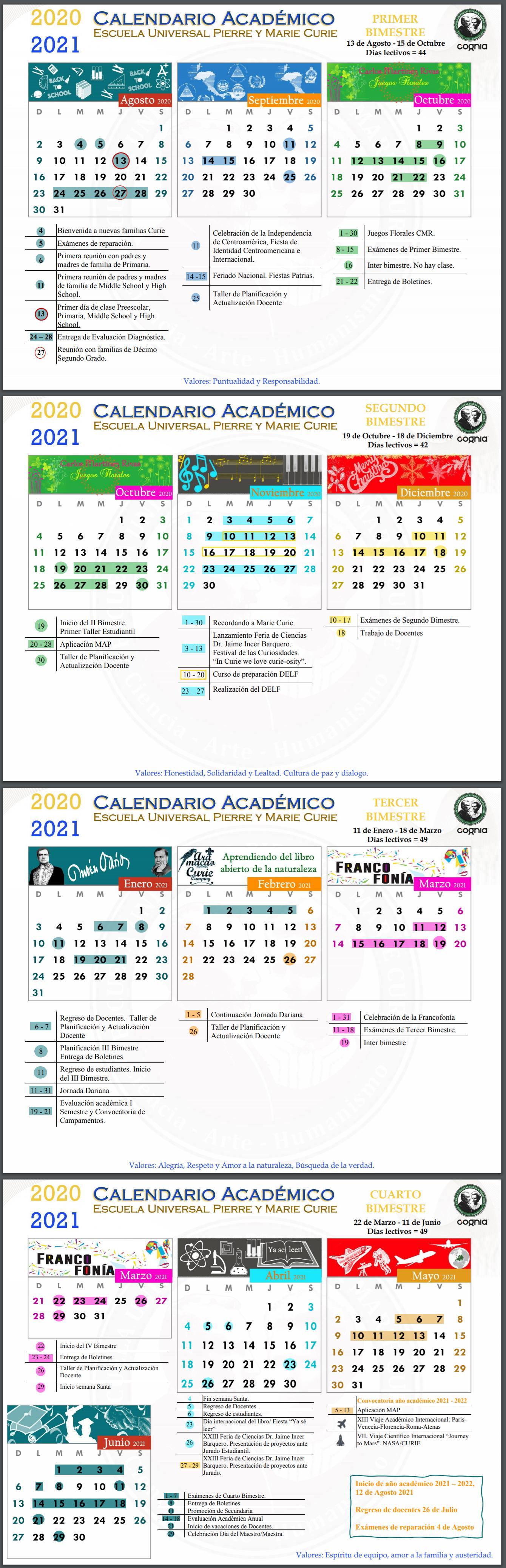 Calendar 2020- 2021